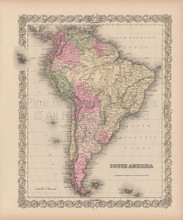 South America Vintage Map Colton 1856
