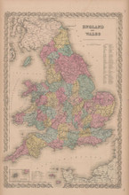 England Wales Vintage Map Colton 1856