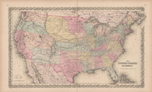 United States Vintage Map Colton 1856