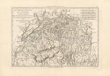 Switzerland Antique Map Bonne 1787
