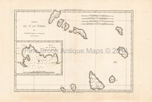Cape Verde Islands Antique Map Bonne 1788