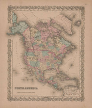 North America Vintage Map GW Colton 1855