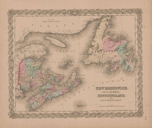 New Brunswick and Nova Scotia Vintage Map GW Colton 1855