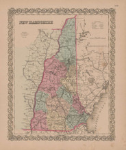 New Hampshire Vintage Map GW Colton 1855