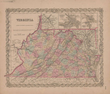Virginia Vintage Map GW Colton 1855