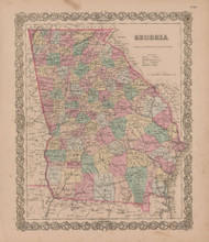 Georgia Vintage Map GW Colton 1855