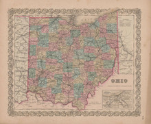 Ohio Vintage Map GW Colton 1855