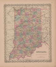 Indiana Vintage Map GW Colton 1855