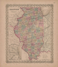 Illinois Vintage Map GW Colton 1855