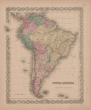 South America Vintage Map GW Colton 1855