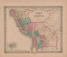 Peru and Bolivia Vintage Map GW Colton 1855