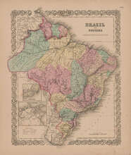 Brazil Guayana Vintage Map Brazilian Decor History Gift Ideas GW Colton 1855
