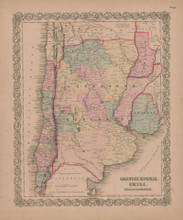 Argentine Republic Vintage Map GW Colton 1855