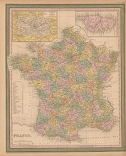 France Antique Map Mitchell Cowperthwait 1853