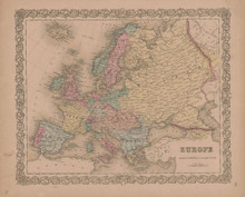 Europe Vintage Map GW Colton 1856