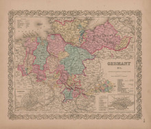 Germany No. 1 Vintage Map GW Colton 1856