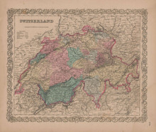Switzerland Vintage Map GW Colton 1856