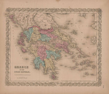 Greece or Ionian Republic Vintage Map GW Colton 1856