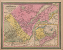 Quebec Canada Vintage Map Mitchell 1847