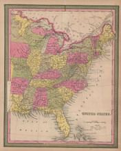United States Vintage Map Mitchell 1847