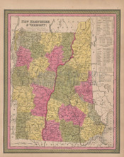 New Hampshire Vermont Vintage Map Mitchell 1847