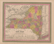 New York State Vintage Map Mitchell 1847