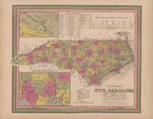 North Carolina Vintage Map Mitchell 1847