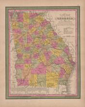 Georgia Vintage Map Mitchell 1847