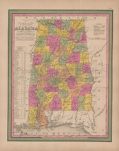 Alabama Vintage Map Mitchell 1847