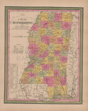 Mississippi Vintage Map Mitchell 1847