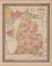 Michigan Vintage Map Mitchell 1847