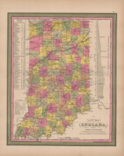 Indiana Vintage Map Mitchell 1847