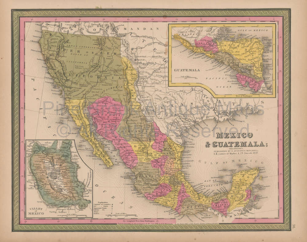 Original Mexico Vintage Map Mitchell 1847 For Sale Home Decor