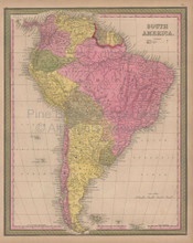 South America Vintage Map Mitchell 1847