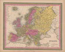 Europe Vintage Map Mitchell 1847