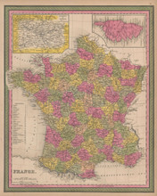 France Vintage Map Mitchell 1847