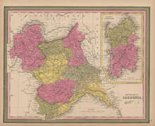 Kingdom Sardinia Vintage Map Mitchell 1847