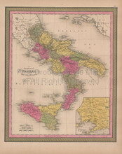Kingdom of Naples Vintage Map Mitchell 1847