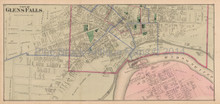 Glens Falls New York Antique Map Beers 1876