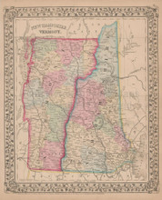 New Hampshire Vermont Antique Map Mitchell 1868