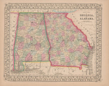 Georgia Alabama Antique Map Mitchell 1868