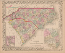 North and South Carolina Antique Map Mitchell 1868