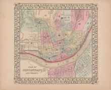 Plan of Cincinnati Antique Map Mitchell 1868