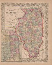 Illinois Antique Map Mitchell 1868