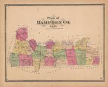 Hampden County MA Antique Map Beers 1870