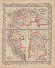 New Granada Peru Antique Map Mitchell 1868