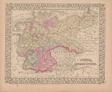 Prussia German States Antique Map Mitchell 1868
