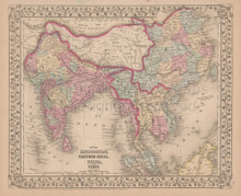 Hindoostan China Antique Map Mitchell 1868