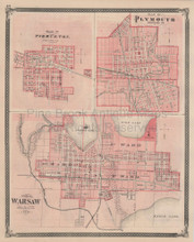 Pierceton Plymouth Warsaw Indiana Vintage Map Baskin 1876