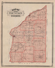 Fountain County Indiana Vintage Map Baskin 1876